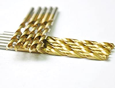 "DRILLFORCE HSS Jobber Length 10 PCS,11/64 "" x 3-1/4""Titanium Coated Twist Drill Bits, Metal drill, ideal for drilling on mild steel, copper, Aluminum, Zinc alloy etc. Pack In Plastic Bag (11/64)"