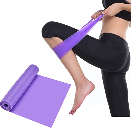 Men Women Elastic Resistance Bands Exercise Stretch Bands Fitness Yoga Pilates Physical Therapy Training Workout Home Training Equipment (Purple)