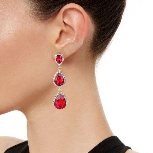 2e56199e5 EleQueen Women's Gold-tone Austrian Crystal Teardrop Pear Shape 2.5 Inch Long  Earrings Ruby Color