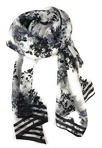 Z&HTrends Womens Genuine Silk Scarf (small, Black Abstract Flowers)