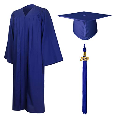 GraduationMall Matte Graduation Gown Cap Tassel Set 2019 for High School and Bachelor Royal Blue - Caps Aware