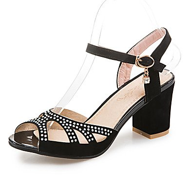 LvYuan Mujer-Tacón Robusto-Zapatos del club-Sandalias-Boda Vestido Fiesta y Noche-Vellón-Negro Azul Rosa Black