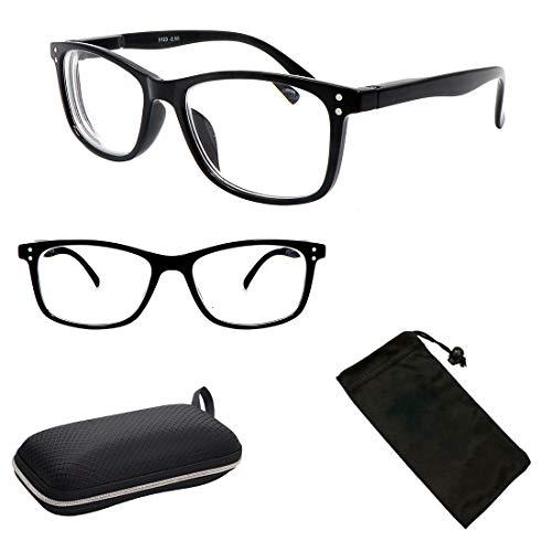 Nearsighted Myopia Lens Plastic Frame Optical Eyeglass Glasses for Men & Women + Free Hard Case (Black, 2.00)