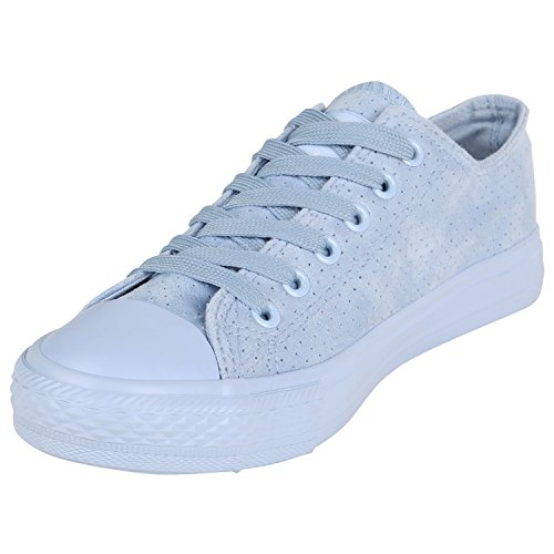 Velours Low Sneaker Hellblau Flandell Unisex Stiefelparadies Herren Übergrößen Damen RI8ww