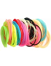 Silicone Bracelet,Rubber Bracelet,Hair Tie Bracelet,Gewaha Silicone Fluorescent Color Candy Color Bracelet 130 Rainbow Luminous Bracelet Style Hair Accessories,Headband And Hair Rope,Suitable For Parties,Adults,Children,Girls(13 Colors)