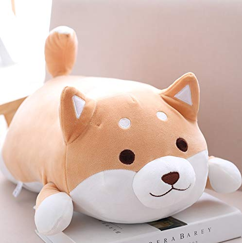 Solazi Dog Plush Toy - Cute Fat Dog Inu Plush Toy Soft Stuffed Animal Cartoon Pillow Lovely Gift for Kids Baby Children - 14 Inch Brown Dot - Squeaky Us -