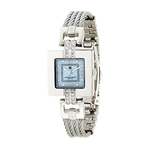 Stnlss Stl Wire Bangle Light Blue Mop Dial Watch by Charles Hubert Paris Watches, Free Gift Box ()