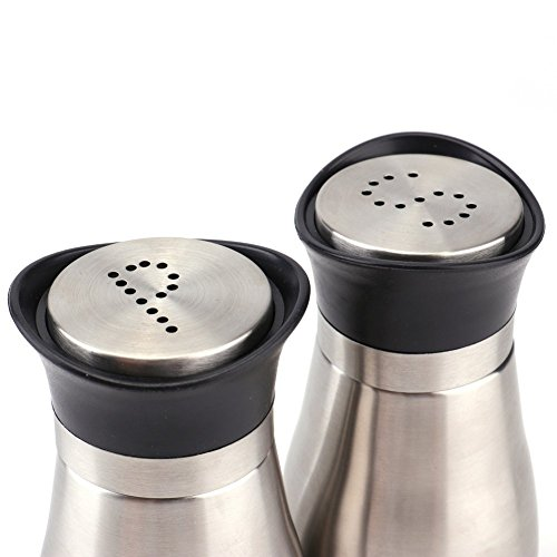 Tebery 4 Ounces Salt and Pepper Shakers Set, Elegant Stainless Steel with Glass Bottom,Set of 2 by Tebery (Image #2)