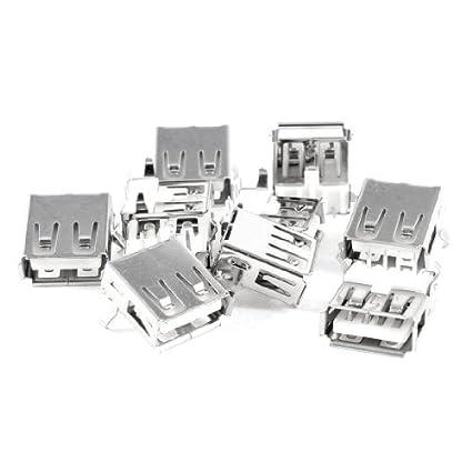 Amazon.com: eDealMax USB tipo femenino un 4-pin Dip derecho del enchufe del zócalo de gato ángulo del conector, 10 Piezas: Electronics