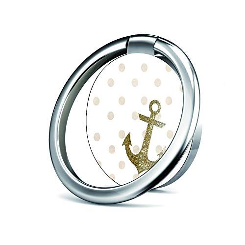 Cell Phone Ring Holder Stand, Phone Grip Car Mounts 360 Degree Rotation Finger Ring Stent Compatible iPhone X 8 7 6 Plus, Samsung Galaxy and Tablets - Gold Glitter Anchor with Dots