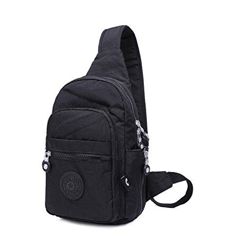 Foino Brusttasche Lässige Umhängetasche Mode Sporttasche Seitentasche Rucksack Vintage Schultertasche Reisetasche für Damen Herren Tasche Schwarz jQGQ2
