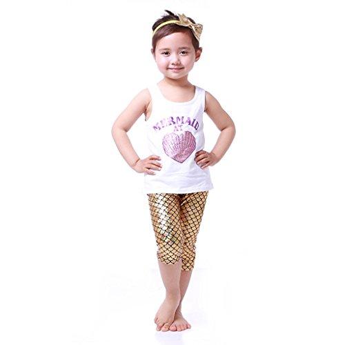 Mermaid at heart tank and gold bermuda style shorts set (5) - Gold Bermuda