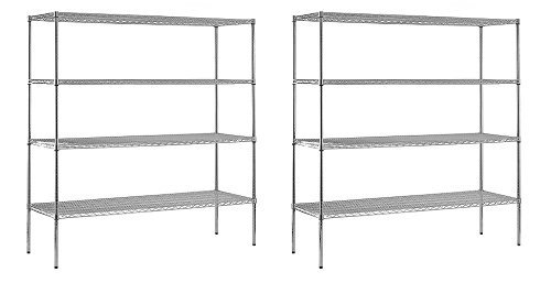 Chrome Steel Heavy Duty Adjustable Wire Shelving, 2400 lbs Capacity, 72