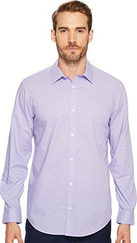 Calvin Klein Men's Check Long Sleeve Non-Iron Button Down Shirt, Madras Purple, 2X-Large