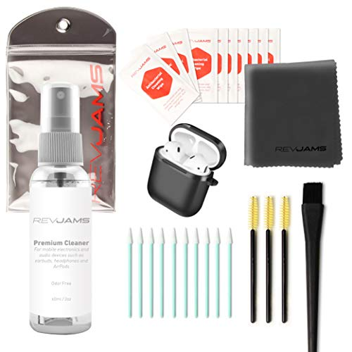 - RevJams Premium Apple AirPod and Airpod Case 25 pc Cleaning Kit, Includes Anti Bacterial Spray, Microfiber Cloth, Anti Static Brush, Swabs and More