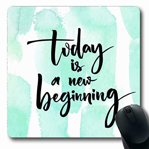 Ahawoso Mousepads for Computers Beginning Watercolor Begin Today New Inspirational Quote Handwriting Turquoise Blue Monday Week Day Oblong Shape 7.9 x 9.5 Inches Non-Slip Oblong Gaming Mouse Pad