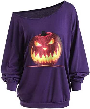 Halloween Shirts for Women Plus Size Funny Long Sleeve Angry Pumpkin Skew Neck Tee Slouchy Fashion Blouse Tops