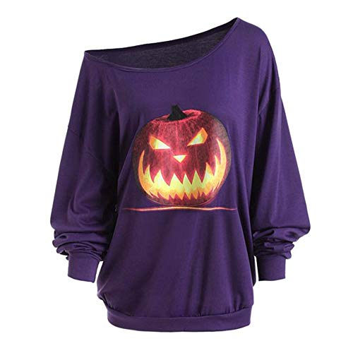 Halloween Costumes for Women,Womens Long Sleeve Off Shoulder Pumpkin Fashion T-Shirt Tops Blouse Pullover Sweatshirt -