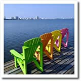 3dRose Adirondack Chairs, Orange Beach, Alabama, USA - US01 FVI0020 - Franklin Viola - Iron On Heat Transfer, 8 by 8-inch, For White Material (ht_87276_1)