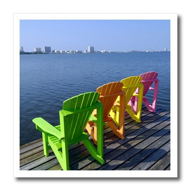 3dRose ht_87276_3 Adirondack Chairs, Orange Beach, Alabama, USA - Franklin Viola - Iron on Heat Transfer for White Material, 10 by 10-Inch ()