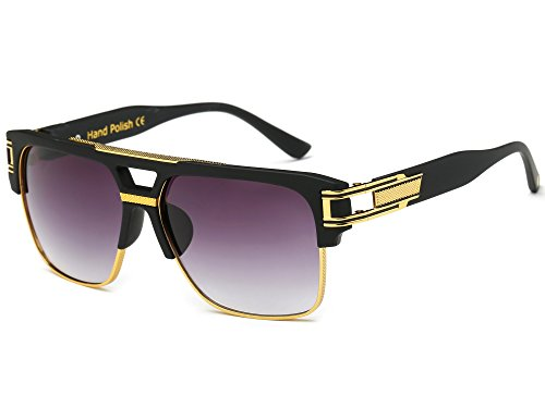 Allt Square Aviator Large Fashion Sunglasses For Men Goggle Alloy Frame Glasses(Black/Grey Gradient, 61)