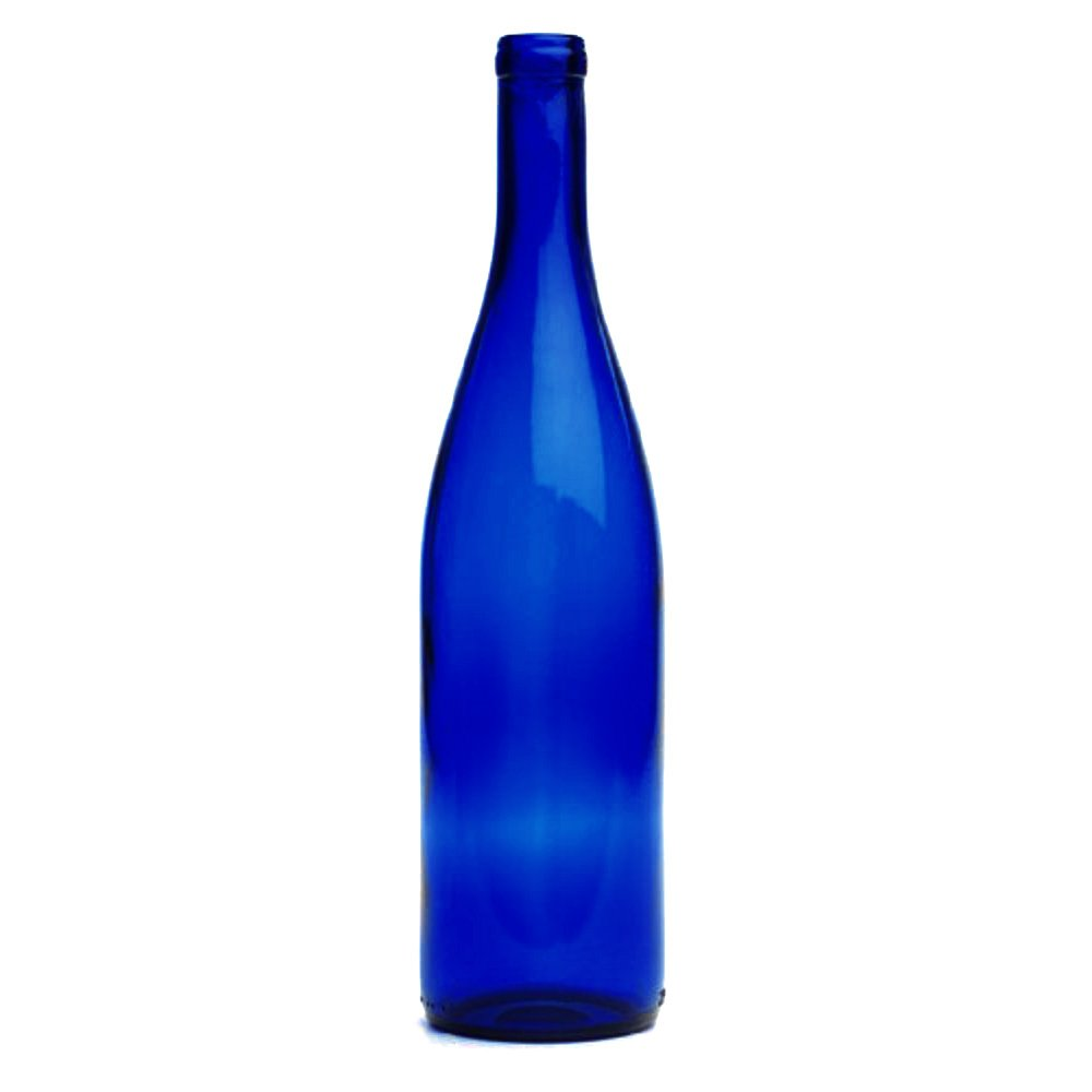 750 Milliter Cobalt Blue Hock Wine Bottles, Cork Finish