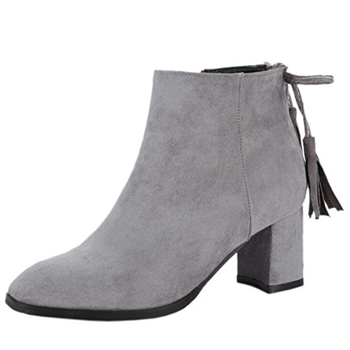 Heel COOLCEPT Gray 25 Party Women Block Fashion Boots Ankle Dress wwq6SFt7