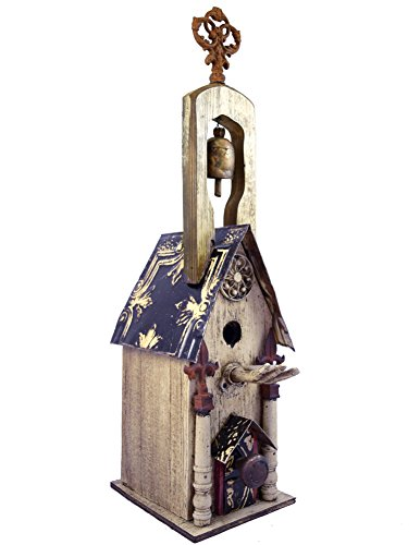 (Modern Artisans Bird in the Hand Rustic Birdhouse Cathedral with Bell, American Made Reclaimed Wood, 33
