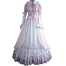 Cozy Age Women's Long Sleeves Bowknot Ruffles Two Color Gothic Victorian Dress