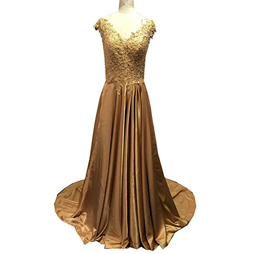 Charmeuse V-neck Floor - Diousha Fashion Gold Bridesmaid Dresses V Neck V Back Cap Sleeves Floor Length Lace Applique Beaded Charmeuse Prom Dresses