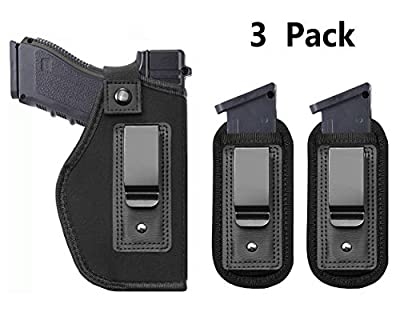 Tenako Universal Magazine IWB Holster for Concealed Carry Pouch Single Double Stack Inside The Waistband Fits Firearms Glock 19 17 26 27 43 S&W M&P Shield 9/40 1911 Taurus PT111 G2 Sig Sauer Ruger