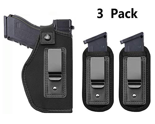 Tenako Universal Magazine IWB Holster for Concealed Carry Pouch Single Double Stack Inside The Waistband Fits Firearms Glock 19 17 26 27 43 S&W M&P Shield 9/40 1911 Taurus PT111 G2 Sig Sauer Ruger (Concealed Carry For Taurus)