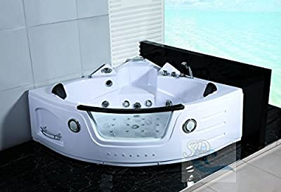 2 Person Bathtub White Corner Unit Jetted Whirlpool 29 Massage Jets Built-in Heater Waterfall Faucet FM Radio SPA Hot Tub 30 Amp Model SDA050-WH