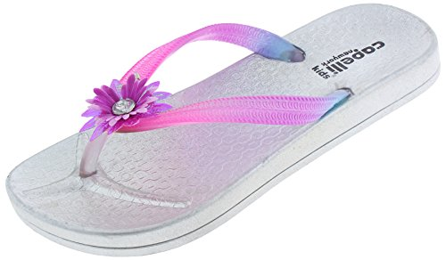 Capelli New York Girls Ombre Flip Flops with Flower Detail Silver Combo 12/13