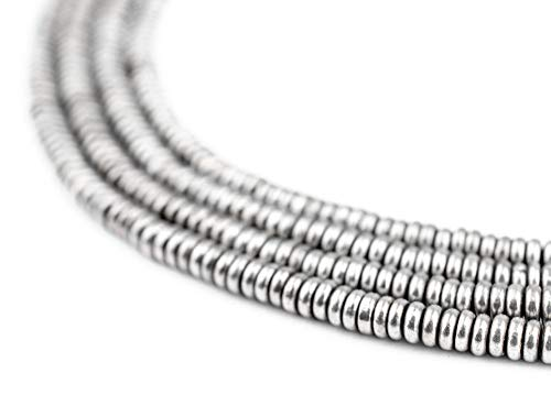 - TheBeadChest Silver Heishi 3mm Beads, Full Strand of Metal Spacers for DIY Jewelry Design