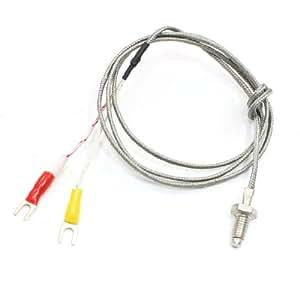 6mm Dia Thread E Type Temperature Sensor Thermocouple Probe 1M Long