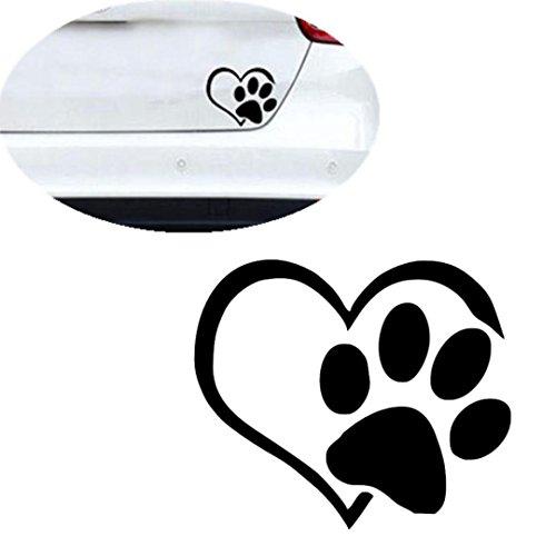 KingWo Pet Paw Print With Heart Dog Cat Vinyl Decal Car Window Bumper Sticker
