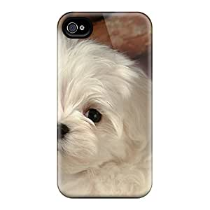 New Design Shatterproof Tgc8208rAXY Case For Iphone 4/4s (white Puuppy)