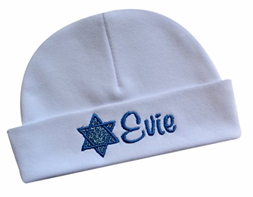 Personalized SPARKLING STAR OF DAVID Jewish Baby Girls Keepsake Infant Hat with Embroidered Name