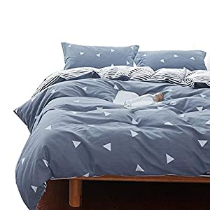 Uozzi Bedding 3 Piece Blue-Gray Duvet Cover Set (1 Duvet Cover + 2 Pillow Shams) with Triangles, 800 - TC Luxury Hypoallergenic Comforter Cover with Zipper Closure, 4 Corner Ties (Gray-Blue, Queen)