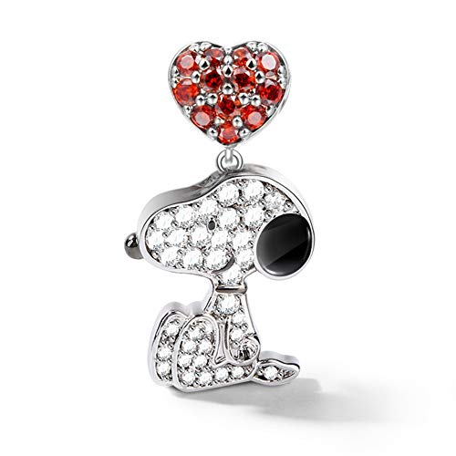 GNOCE Snoopy Pendant Charms With Heart Sterling Silver