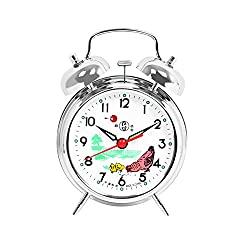 Besplore Double Bell Mechanical Wind Alarm Clock with Rooster Peck at Rice Design,Silver