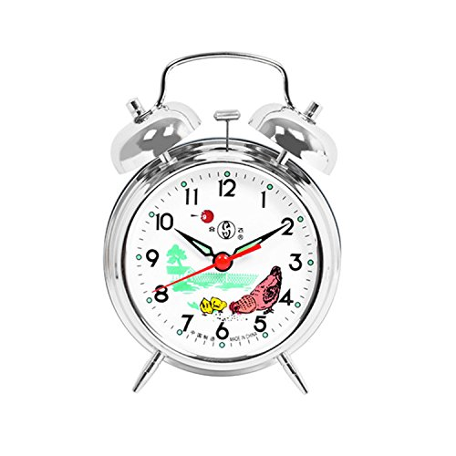 (Besplore Double Bell Mechanical Wind Alarm Clock with Rooster Peck at Rice Design,Silver)