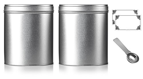 Oval Stackable Tea Tin Canister Containers 5.4'' (2 PACK) and Stainless Steel Metal Scoop Spoon + Labels, For Loose Leaf Tea, Coffee, Sugar Storage, Dried Herbs, Spices by JUVITUS