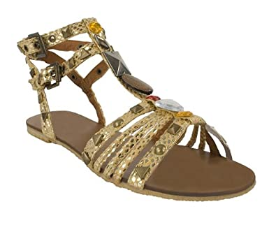7bd0cd06d7a Priceless Womens Gold Gem Gladiator Sandals Size 8  Amazon.co.uk ...