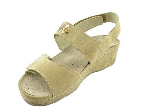 Melluso Doppio Beige Sandalo Q60090 Stretch Comodo E0277 Cappuccino Donna rgrxZSwq