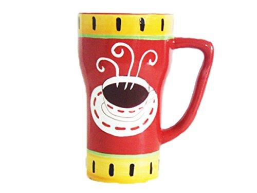 Hand Painted Hot Coffee Fleur De Lis Red/yellow rim Ceramic Mug, 1-Piece 6-1/4
