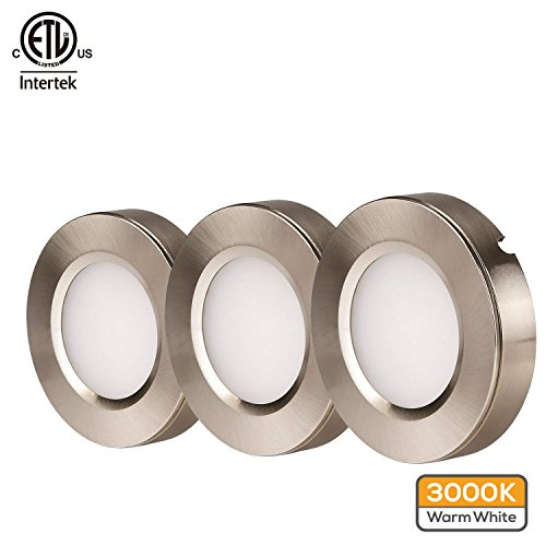 TORCHSTAR LED Under Cabinet Lighting Kit: 3pcs 3W 780lm LED Puck Lights (Recessed & Surface Mount) w/Power Adapter and Accessories for Kitchen, Bookshelf, Showcase, 3000K Warm White, 2 YEARS WARRANTY