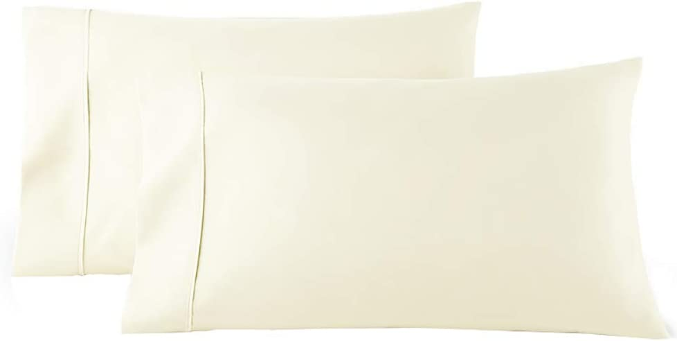 Amazon Com Royal Tradition Solid 300 Thread Count 100 Percent Cotton Standard Queen Pillow Cases Set Of 2 Ivory Soft Pair Of Pillowcases Home Kitchen