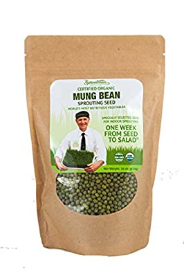 Sproutman Organic 16oz Mung Bean Sprouting Seed - Mung Bean Seeds for Sprouting, High Germination, Non-GMO, Certified Organic.